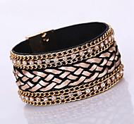 New Fashion Charm Women Leather Shiny Rhinestone Multilayer Magnetic Width Magnet Alloy Buckle Bangle Bracelet
