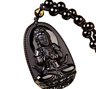 Unisex Fashion Obsidian Guanyin Pendant for Necklace