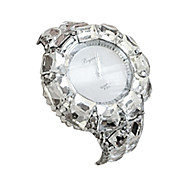 Women's Fashion Watch Simulated Diamond Watch Casual Watch Quartz Alloy Band Bangle Black Silver