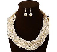 Ivory White Pearl Necklace Earrings Jewelry Set