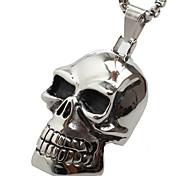 Vintage Large Skull Titanium Pendant Necklace