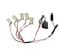 5pcs 3.7V 650mAh Battery with 1 to 5 USB Charger Cable Adapter Parts for Syma X5C X5 X5SC RC Quadcopter