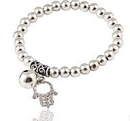 Silver Ball Strand Palm Charm Bracelet