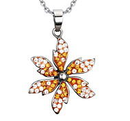 Women's Fashion Crystal Flower Steel Pendant for Necklace