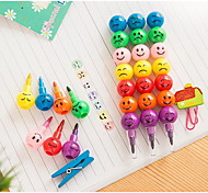 A08-3-08 Korean Version of The Cartoon Funny Face Coated Haws 7 Color Crayon Graffiti Pen