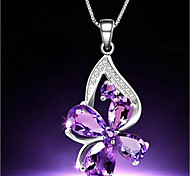 Women's Pendant Necklaces Crystal Alloy Sexy Silver Purple Jewelry Daily Casual 1pc