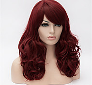 Europe And The United States 22 Inch Long Curly Wig  Wine Red Big Hair