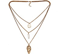 High Quality Three Layered Leaf Pendant Gem Natural Stone Chain Necklace Jewelry