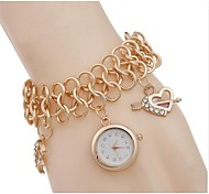 Women's Watch Moon Pendant Heart Pattern Gold Bracelet Watch Imitate Diamond Wrist Watch Fashion Watch