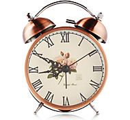 Bronze vintage double bell iron alarm clock with silent clock mechanism and backlight crafts table clock home decoration