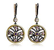 Worldwide delivery Circle pendant Women Drop earrings Black Gold Plated Amethyst White Bezel setting Top grade