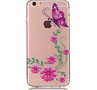 Pink Butterfly 3D Relief Feeling Super Soft Pack Transparent TPU Phone Case for iPhone 5/5S/SE/6/6S/6 Plus/6S Plus