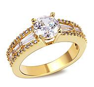 Design Women Luxury 18K Gold Plated Rings AAA Cubic Zircon Bridal Wedding Ring Environmental Friendly Material Lead FreeImitation Diamond Birthstone