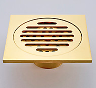 Gold-Plated finishing Brass Square Fish Floor Drain Shower Waste Grate Strainer Assembly