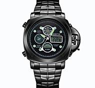 Masculino Relógio Esportivo Quartz / Digital LED / Calendário / Dois Fusos Horários / Noctilucente Aço Inoxidável Banda CasualPreta /