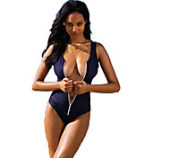 Sexy Fashion Dark blue Zipper Piece Swimsuit