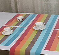 PVC Abrasion Resistant Rainbow Table Runner Placemats Skid Pad for Hotel (Random Color)