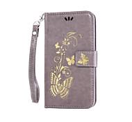 Corpo Completo carteira / Entrada de Cartão / com suporte Other Couro Ecológico Duro Painted lanyard Bronzing Case Capa Para AppleiPhone