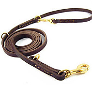 Dog Leash Hands Free Leash Adjustable/Retractable Running Solid Brown Genuine Leather