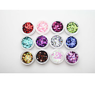Byfunme 12 color Round sequins Nail sticker set/Glitter Nail Art Decoration Combination
