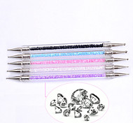 5PCS Double Nails Point Drill Pen The Crystal Transparent With Drill Point Drill Pen Suit