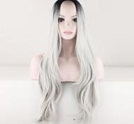 жен. Парики из искусственных волос Без шапочки-основы Длиный Кудрявые Серый Волосы с окрашиванием омбре Темные корни Прямой пробор Парики