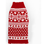 Cat Dog Sweater Dog Clothes Winter Spring/Fall Snowflake Fashion Christmas New Year's Red