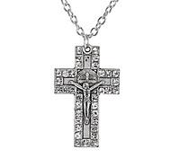 Vintage Diamond Studded Cross Pendant NecklaceImitation Diamond Birthstone