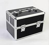Professional Makeup Bag With Lock Box Multilayer Double Door Aluminum Alloy Makeup Storage Box