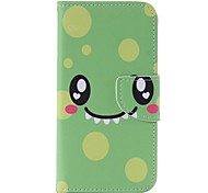 Green Smile Painted Card Holder Wallet PU Leather Phone Case for Galaxy J3/J3(2016)