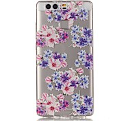 Floral Fit 3D Relief Feeling Super Soft Pack Transparent TPU Phone Case for Huawei P9