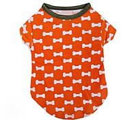 Chien T-shirt Orange Vêtements pour Chien Hiver / Eté / Printemps/Automne Classique / Os Mariage / Noël / Saint-Valentin / Mode Lovoyager