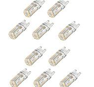 10шт g9 58led smd3014 2w 165lm теплый белый / белый / натуральный белый декоративный / водонепроницаемый ac110v / 220v светодиодный би-контакт