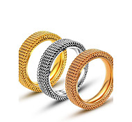 Men's Rings Titanium Steel Ring  Mesh Fashion Band Ring Fashion Jewelry Silver Gold Rings Jewelry for Men/Women Christmas Gifts