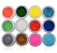 12 Bottle/Set Nail holographic Nail Glitter Powder Dust 3D Tip Rhinestone Manicure Tools Nail Art Decoration Polish