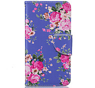 Purple Flower Pattern PU Leather Full Body Case with Stand and Card Slot for Nokia Lumia 650/550