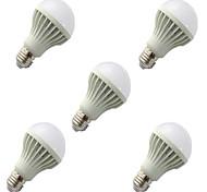 5pcs HRY® 9W E27 2835SMD Cool White Sound & Light Control Lamp LED Smart Bulbs(220-240V)