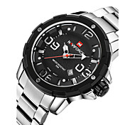 NAVIFORCE® Luxury Brand Men Military Fashion 3D Dial Date Display Silver Stainless Steel Quartz Watch Fashion Wrist Watch Cool Watch