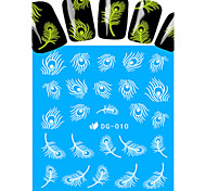 1pcs Nail Art Water Transfer Noctilucent Sticker Feather Decoration Nail Beauty DG-010