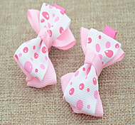 Korean Flower Girl's Double-Deck Bow Fabric Hair Clip