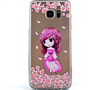 Girl   Embossed Acrylic Back High Transparent TPU  Combo  Phone Case for Samsung Galaxy S5 S6 S7 S6 edge S7 edge