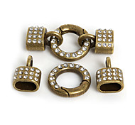 Beadia 2Sets Metal Jewelry Spring Clasps With Rhinestone 40x20mm Leather Cord Bracelet Connectors (10x6mm Hole Size)