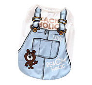 Cat / Dog Shirt / T-Shirt Dark Blue / Light Blue Dog Clothes Summer / Spring/Fall Cartoon Fashion