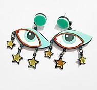 Green Eye Shape Drop Earring(1 Pair)