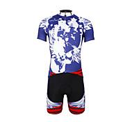 PaladinSport Men 's Cycling Jersey + Shorts Suit DT654 Blue Skeletons