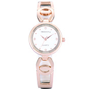 REBIRTH® Women's Simple Fashion Slim PU Leather Rose Gold Strap Quartz Wrist Watch
