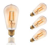 E26/E27 LED лампы накаливания ST19 4 COB 300 lm Янтарный Диммируемая Декоративная AC 110-130 V 4 шт.