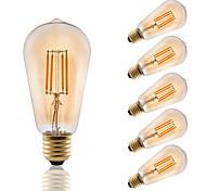 4 E26/E27 Lampadine LED a incandescenza ST58 4 COB 330 lm Ambra Decorativo AC 220-240 V 6 pezzi