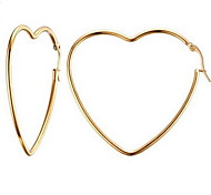Stainless Steel Gold Plated 18K gold Fashion Heart Gold Jewelry Daily Casual Valentine 1 pair