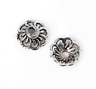 28pcs beadia plata antigua granos de la aleación del casquillo de 9x4mm forma de la flor granos del espaciador